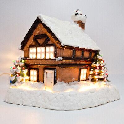 Vintage Large Ceramic Christmas House Two Light Up Trees Santa with Base