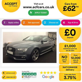 Grey AUDI A5 COUPE 1.8 2.0 TDI Diesel BLACK EDITION FROM £62 PER WEEK!