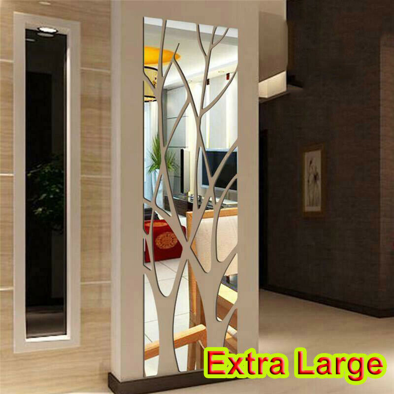 Home Decoration - Extra Large Modern Acrylic Tree Mirror Wall Tile Sticker Art Decor Decal Home