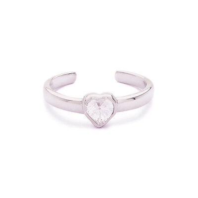925 Sterling Silver Toe Ring Heart Cubic Zirconia CZ Jewelry Adjustable
