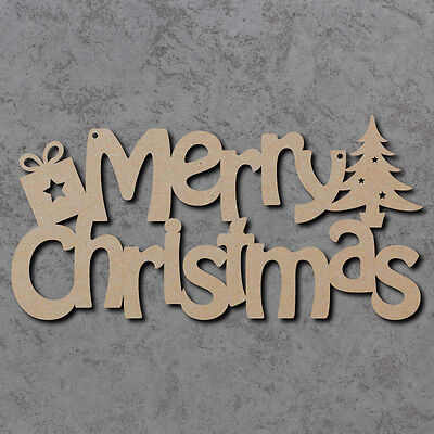 Merry Christmas Sign - Wooden Laser Cut mdf Craft Shapes