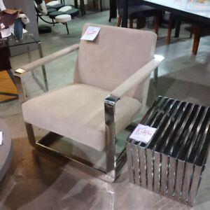 Revolve Outlet Beige and Chrome Accent Chair Now Only $399!!