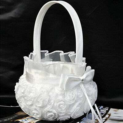 White Romantic Rose Bowknot Satin Wedding Ceremony Party Flower Girl Basket (White Flower Girl Basket)