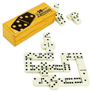 Brybelly Double Six Dominoes with Brass Spinners in Wooden