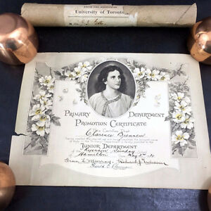 2 Antique Sunday School Graduation Certificate Diplomas 1920/22