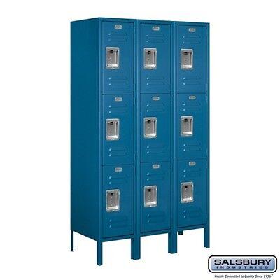 Standard Metal Locker Triple Tier 3 Wide 5 High 15 Deep Blue 63355bl-u New