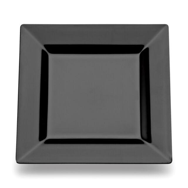 "20 Disposable Plastic Black Square 7"" 18cm  Plates-Buffets/ BBQS/"