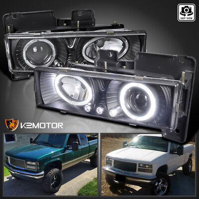 1988-1998 Chevy C10 Pickup Suburban LED Halo Projector Headlights Black Pair