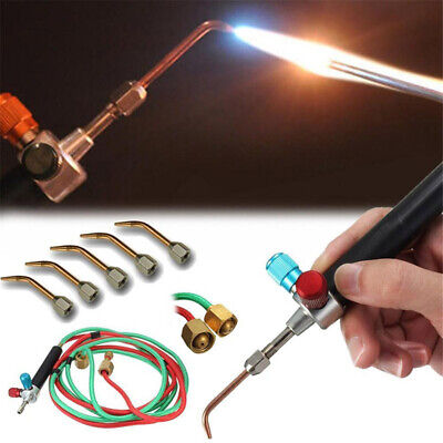 Oxygen Acetylene Welding Torch Hose Gun Cutting Kit 5 Nozzles Welder Tool Set Us