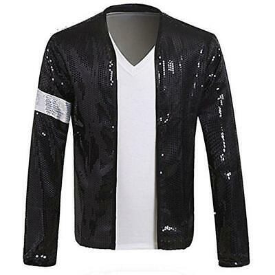 giacca Michael Jackson Billie Jean nera paillettes argento cosplay adulti guanto