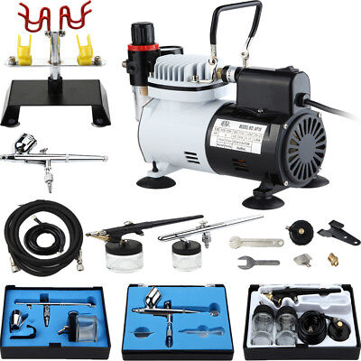 New 3 Airbrush   Compressor Kit Tattoo Nail Art For Hobby Makeup Model
