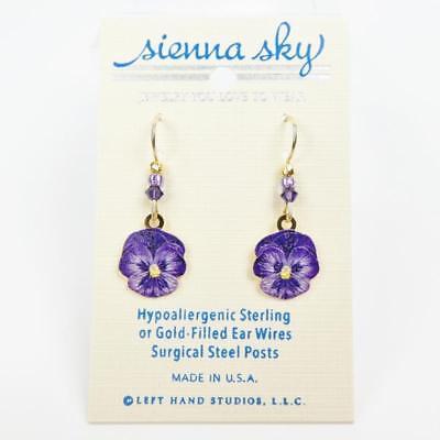 (Sienna Sky Earrings 14K Gold Filled Hook Purple Pansy Flower Handmade in USA)