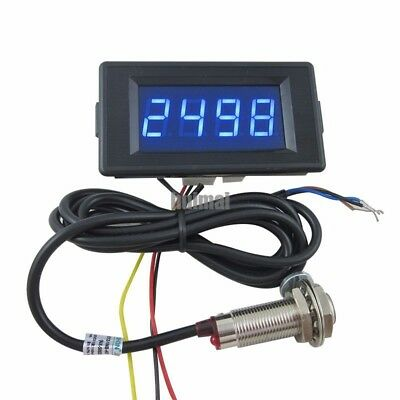 4 Digital Blue Led Counter Meter Up Downhall Proximity Switch Sensor Dc 12v 24