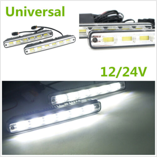 2Pcs DC 12V/24V COB White LED Daytime Running Light Car DRL Lamp
