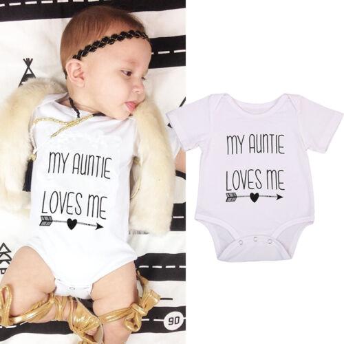 US Newborn Baby Boy Girl Auntie Arrow Print Romper Summer Ou