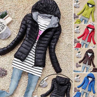Winter Women's Slim Hooded Coat zipper Trench Jacket Parka Outwear Overcoat S-XL ()