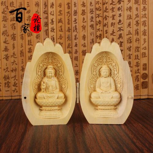 Boxwood Wood Carving Chinese Shakyamuni Amitabha Buddha Kwan Yin Statue Hand Box