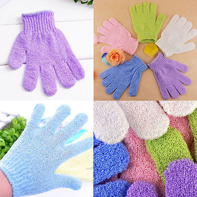 2X Exfoliating Body Scrub Skin Massage Sponge Gloves Shower Bath Mitt Loofah GW