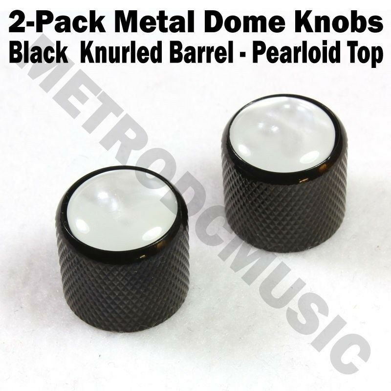 2-Pack Metal Dome Knobs - Black Knurled Barrel - White Pearl Top Guitar Control