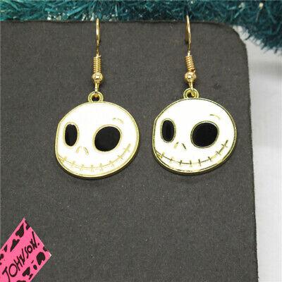 White Enamel Cool Halloween Ghost Face Betsey Johnson Women Stand Earrings