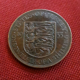 1933 Jersey Penny coin - King George VI - One Twelfth of a Shilling