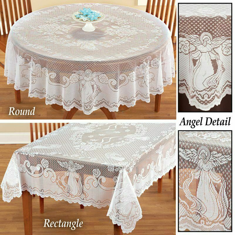 Angel Lace Tablecloth Rectangle Round Table Cloth Cover Part