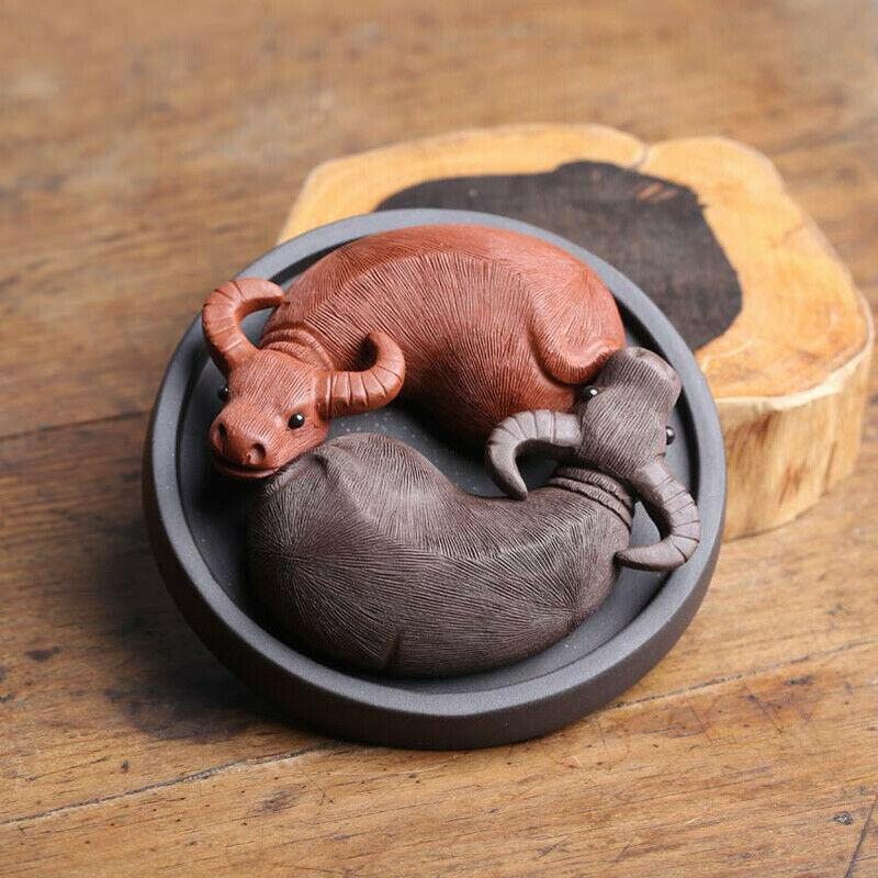 1Pcs YiXing Handmade Tea Pet Purple Clay The Two Water Buffalo Tea Decoration