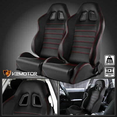 2X JDM PVC Leather BLACK Reclinable Bucket Racing Seats w/Red Stitch Stripes