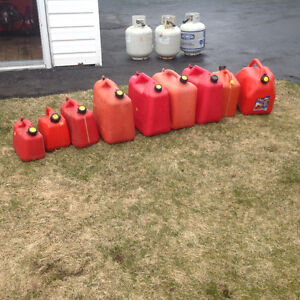 Assorted gas cans
