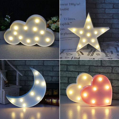 Süß 3D Stern/Mond LED Baby Nachtlicht Kinder Schlafzimmer Wandlampe Notlicht Neu