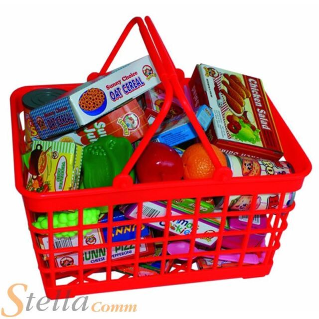 Peterkin Supermarket Grocery Basket Shopping Bag With Food Role Play Toy