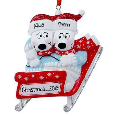 NAME PERSONALIZED ORNAMENT Polar Bear Sled Family of 2 3 4 5 6 CHRISTMAS GIFT