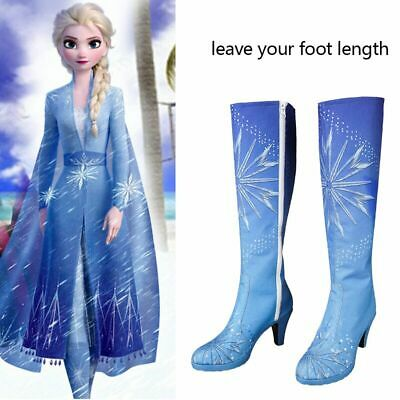 Frozen 2 Princess Elsa Costume Cosplay Blue Shoes Halloween Adult Women Boots