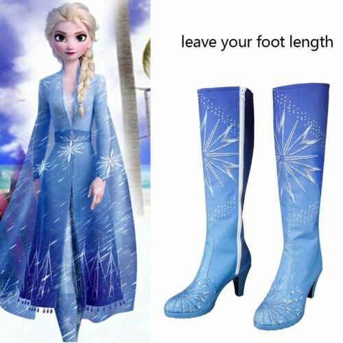 Frozen 2 Princess Elsa Costume Cosplay Blue Shoes Halloween Adult Women Boots