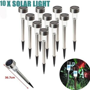 10Pcs Solar LED Stainless Steel Garden Lights Outdoor Path Lane Lawn White Lamp