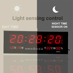 Big Digital LED Home Office Desk Calendar Temperature Date Wall Clock Red LED