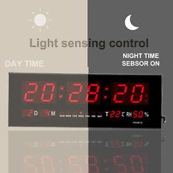 Big Digital LED Home Office Desk Calendar Temperature Date Wall Clock Red LED