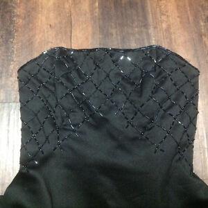 Black Satin Handbeaded dress