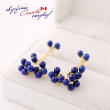 S925 Sterling Silver Lapis Lazuli Beads Golden Sprig Gemstone Earring Stud