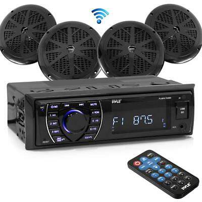 Bluetooth Marine Receiver Stereo AM / FM Radio (4) 6.5 '' Waterproof Speakers Black