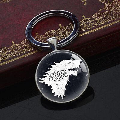 Game of Thrones Stark Logo Keychains Silver Pendant Vintage Key Chain Keyring