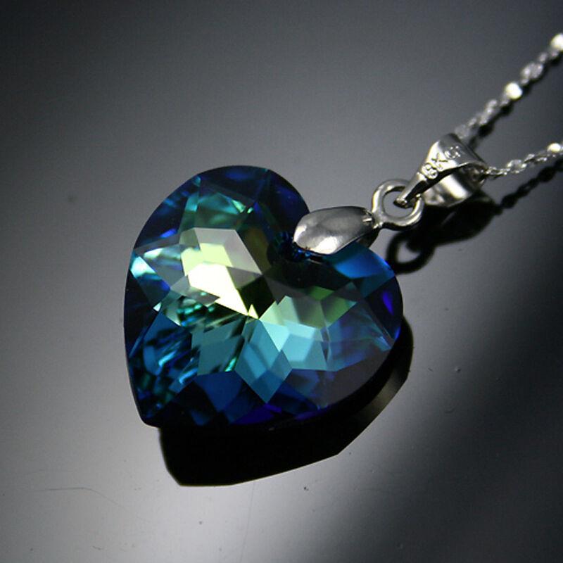 925 Argent Sterling Collier Swarovski Elements Véritable Irisé Bleu Océan