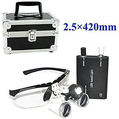 Dental Medical Surgical Binocular Loupes Optical Glass Loupe 2.5x 420 Metal Case