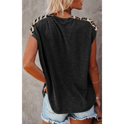 Womens Crew Neck Short Sleeve T Shirt Leopard Splice Blouse Casual Loose Top Tee Clothing, Shoes & Accessories