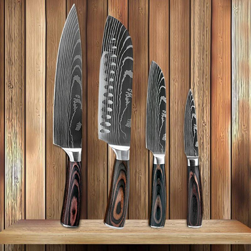 4 Pcs Kitchen Knife Set High Carbon Stainless Steel Damascus Pattern Chef Knife