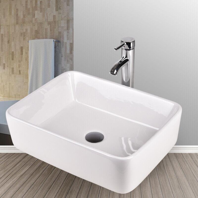 Bathroom Rectangle Porcelain Ceramic Vessel Sink Basin Bowl