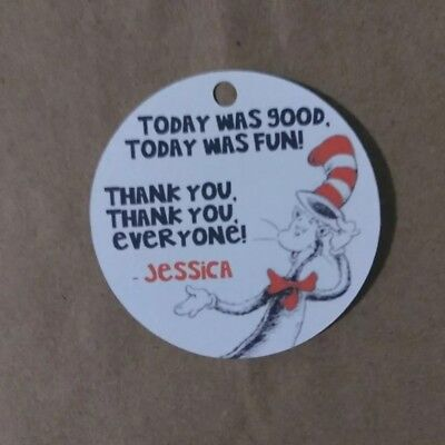 12 Personalized The Cat in the Hat birthday party favor tags. Dr. Seuss - Dr Seuss Birthday Party