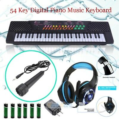 54 Key Digital Music Piano Keyboard Portable Musical Instrument w/ Microphone - Microphone Toy