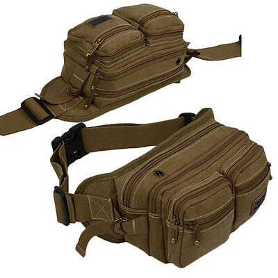 Men's Canvas Waist Fanny Pack Chest Shoulder Bag Sport Travel Military Pouch