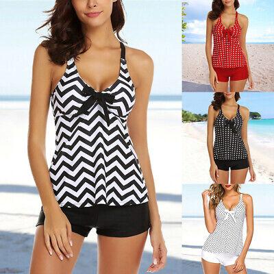 Women Swimwear V-Neck Printed Ruched Tankini Set Swimsuit With Shorts Pants Slim